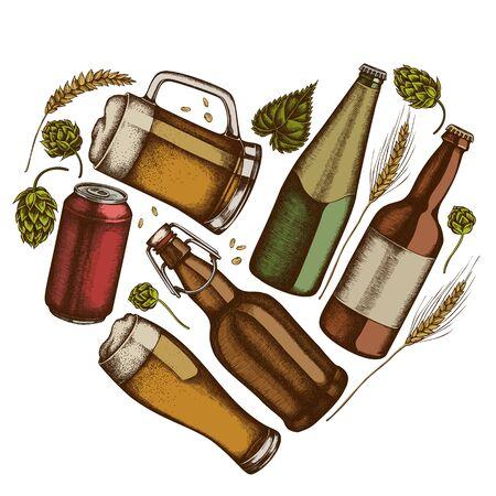 Heart floral design with colored rye, hop, mug of beer, bottles of beer, aluminum can stock illustration