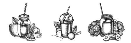 Flower bouquet of black and white lemons, broccoli, radish, basil, smoothie cup, smothie jars, cucumber stock illustration