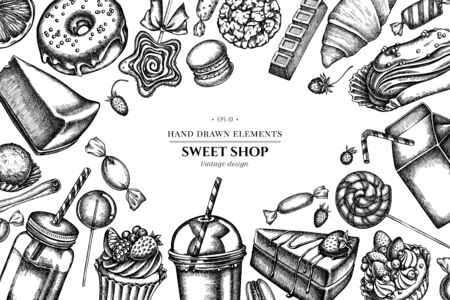 Floral design with black and white cinnamon, macaron, lollipop, bar, candies, oranges, buns and bread, croissants and bread, strawberry 向量圖像