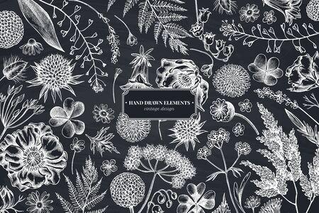 Floral design with chalk shepherds purse, heather, fern, wild garlic, clover, globethistle, gentiana, astilbe, craspedia, lagurus, black caraway, chamomile, dandelion, poppy flower, lily of the valle 일러스트