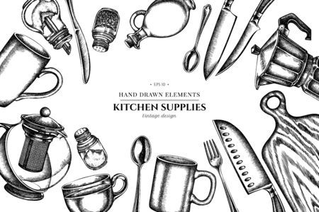 Floral design with black and white Chef's knifes, teaspoon, spoon, fork, knife, cutting board, bottle of oil, teapots, coffee pot, cups, sugar bowl, pepper shaker, salt shaker stock illustration