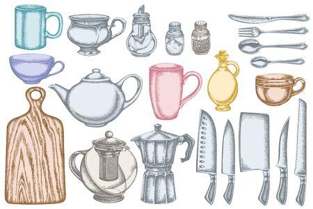 Vector, conjunto, de, mano, dibujado, pastel, chef, cuchillos, cucharilla, cuchara, tenedor, cuchillo, tabla de cortar, botella, de, aceite, teteras, cafetera, tazas, azucarero, pimentero, salero colección de ilustraciones