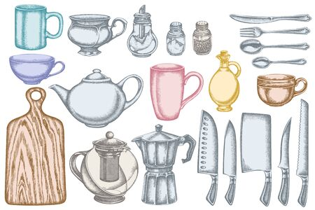 Vector set of hand drawn pastel Chef's knifes, teaspoon, spoon, fork, knife, cutting board, bottle of oil, teapots, coffee pot, cups, sugar bowl, pepper shaker, salt shaker stock illustration