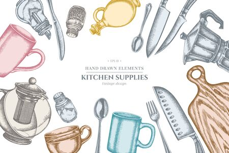 Diseño, con, pastel, chef, cuchillos, cucharilla, cuchara, tenedor, cuchillo, tabla de cortar, botella, de, aceite, teteras, cafetera, tazas, azucarero, pimentero, salero colección de ilustraciones