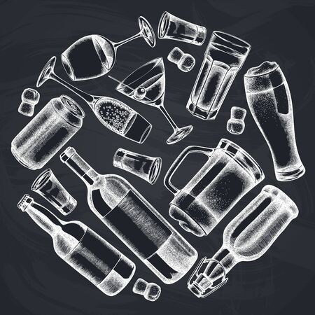 Round design with chalk glass, champagne, mug of beer, alcohol shot, bottles of beer, bottle of wine, glass of champagne, glass of wine, glass of martini, aluminum can
