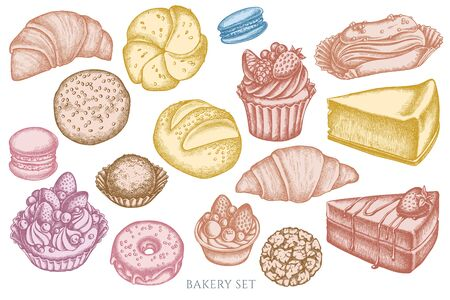 set of hand drawn pastel macaron, buns and bread, croissants and bread, cheesecake, eclair, cupcake, cake, donut, cookie, truffle, cake, tartlet