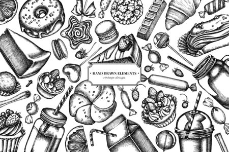 Design with black and white cinnamon, macaron, lollipop, bar, candies, oranges, buns and bread, croissants and bread, strawberry, milk boxes, smoothie cup, lollipop, smothie jars, cheesecake, eclair, cupcake, cake, donut, cookie, truffle, cake, tartlet