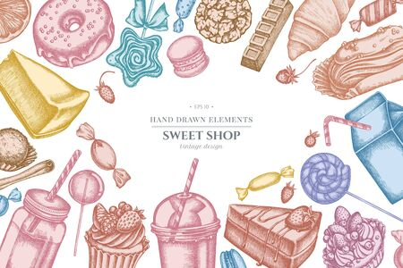 Design with pastel cinnamon, macaron, lollipop, bar, candies, oranges, buns and bread, croissants and bread, strawberry, milk boxes, smoothie cup, lollipop, smothie jars, cheesecake, eclair, cupcake, cake, donut, cookie, truffle, cake, tartlet