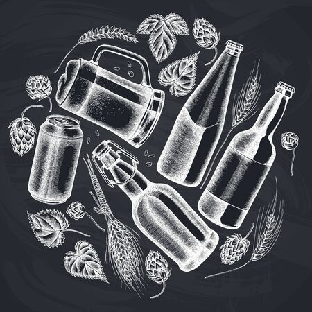 Diseño redondo con tiza de centeno, lúpulo, jarra de cerveza, botellas de cerveza, lata de aluminio.