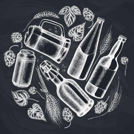 Round design with chalk rye, hop, mug of beer, bottles of beer, aluminum can