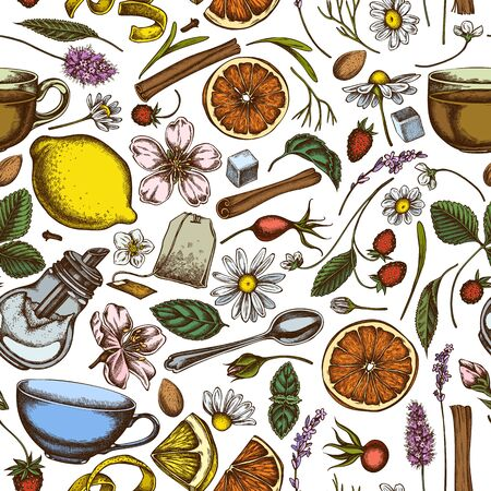 Seamless pattern with hand drawn colored cinnamon, lemons, oranges, tea bag, sugar cubes, heather, chamomile, dog rose, peppermint, almond, strawberry, teaspoon, teapots, cups, sugar bowl