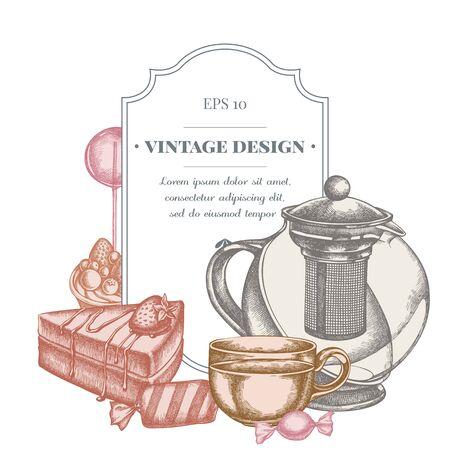 Badge design with pastel lollipop, candies, teapots, cups, cake, tartlet Vectores