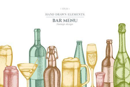 Design with pastel glass, champagne, mug of beer, alcohol shot, bottles of beer, bottle of wine, glass of champagne, glass of wine, glass of martini, aluminum can