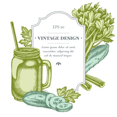 Badge design with pastel greenery, smothie jars, cucumber, celery