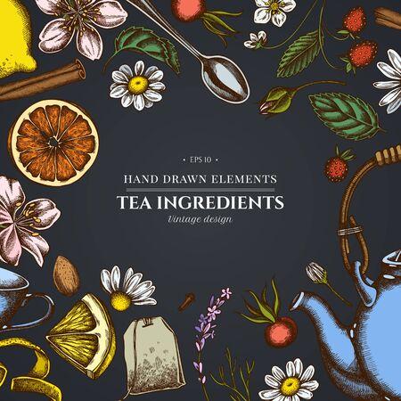 Design on dark background with cinnamon, lemons, oranges, tea bag, sugar cubes, heather, chamomile, dog rose, peppermint, almond, strawberry, teaspoon, teapots, cups, sugar bowl Vektorgrafik