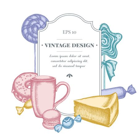 Badge design with pastel macaron, lollipop, candies, lollipop, cheesecake, cups, donut
