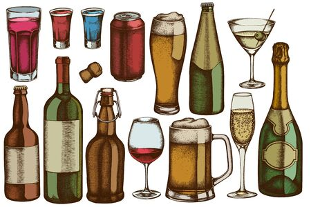 Vector set of hand drawn colored glass, champagne, mug of beer, alcohol shot, bottles of beer, bottle of wine, glass of champagne, glass of wine, glass of martini, aluminum can