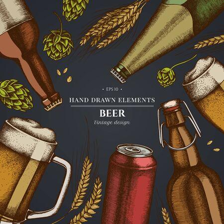 Design on dark background with rye, hop, mug of beer, bottles of beer, aluminum can Stock Illustratie