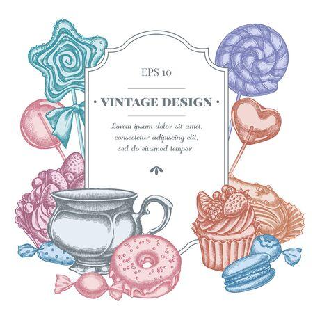 Badge design with pastel macaron, lollipop, candies, lollipop, eclair, cupcake, cups, donut, cake