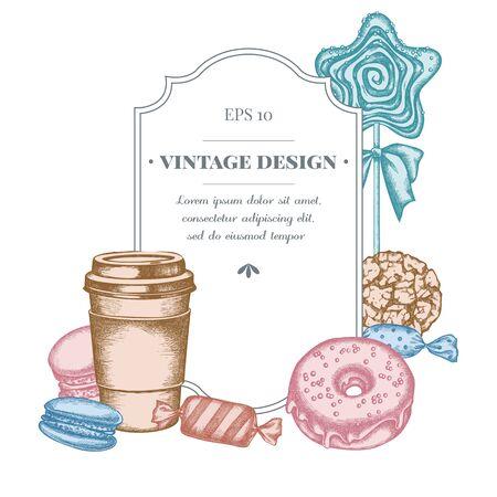 Badge design with pastel macaron, candies, paper cup, lollipop, donut, cookie Stock Illustratie