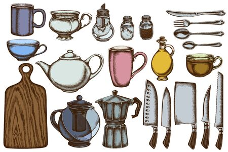 Vector set of hand drawn colored Chefs knifes, teaspoon, spoon, fork, knife, cutting board, bottle of oil, teapots, coffee pot, cups, sugar bowl, pepper shaker, salt shaker Stock Illustratie