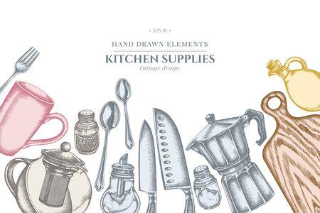 Design with pastel Chefs knifes, teaspoon, spoon, fork, knife, cutting board, bottle of oil, teapots, coffee pot, cups, sugar bowl, pepper shaker, salt shaker