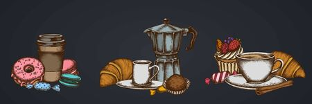 Composition of cinnamon, macaron, candies, croissants and bread, coffee cups, paper cup, cupcake, espresso cup, coffee pot, donut, truffle