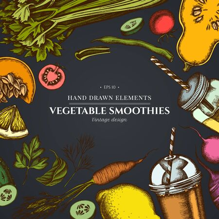 Design on dark background with lemons, broccoli, radish, green beans, cherry tomatoes, beet, greenery, carrot, basil, pumpkin, smoothie cup, smothie jars, cucumber, celery