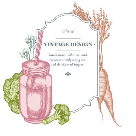 Badge design with pastel broccoli, greenery, carrot, smothie jars 向量圖像
