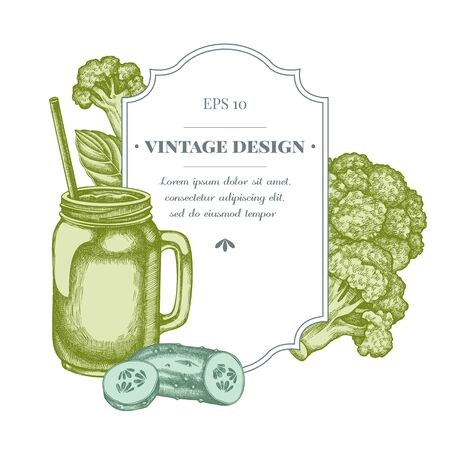 Badge design with pastel broccoli, basil, smothie jars, cucumber Stock Illustratie