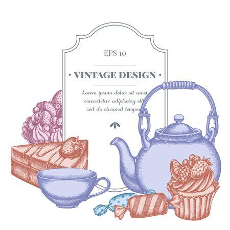 Badge design with pastel candies, cupcake, teapots, cups, cake, cake Archivio Fotografico - 133318953