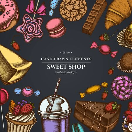 Design on dark background with cinnamon, macaron, lollipop, bar, candies, oranges, buns and bread, croissants and bread, strawberry, milk boxes, smoothie cup, lollipop, smothie jars, cheesecake, eclair, cupcake, cake, donut, cookie, truffle, cake, tartlet Vectores
