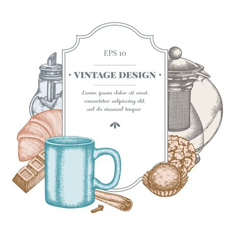 Badge design with pastel cinnamon, bar, croissants and bread, teapots, cups, sugar bowl, cookie, truffle stock illustration