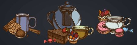 Flower bouquet of cinnamon, macaron, bar, candies, cupcake, teapots, cups, cake donut cookie truffle tartlet stock illustration