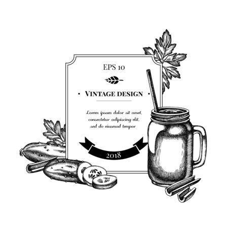 Badge design with black and white greenery, smothie jars, cucumber, celery stock illustration