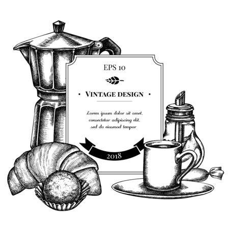 Badge design with black and white candies, croissants and bread, espresso cup, coffee pot, sugar bowl, truffle stock illustration Vetores