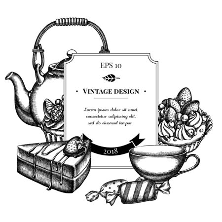 Badge design with black and white candies, cupcake, teapots, cups, cake, cake stock illustration Stock Illustratie