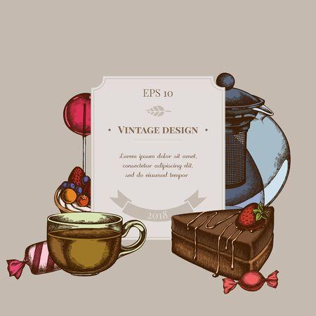 Badge design with colored lollipop, candies, teapots, cups, cake tartlet stock illustration Stock Illustratie