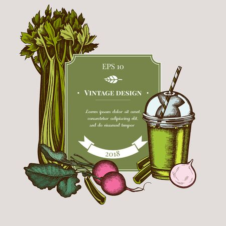 Badge design with colored beet, smoothie cup, celery stock illustration