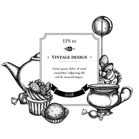 Badge design with black and white lollipop, candies, cupcake, teapots, cups, truffle, cake, tartlet Vectores