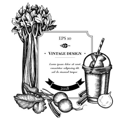 Badge design with black and white beet, smoothie cup, celery