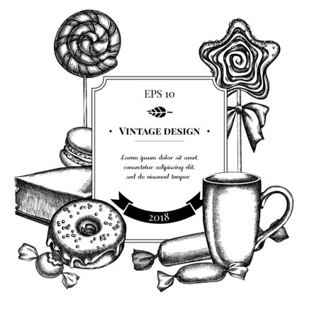 Badge design with black and white macaron, lollipop, candies, lollipop, cheesecake, cups, donut