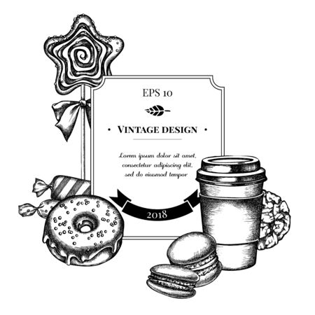 Badge design with black and white macaron, candies, paper cup, lollipop, donut, cookie