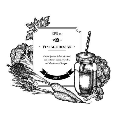 Badge design with black and white broccoli, greenery, carrot, smothie jars 向量圖像