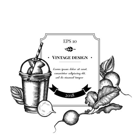 Badge design with black and white radish, greenery, basil, smoothie cup