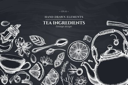 Design with chalk cinnamon, lemons, oranges, tea bag, sugar cubes, heather, chamomile, dog rose, peppermint, almond, strawberry, teaspoon, teapots, cups, sugar bowl