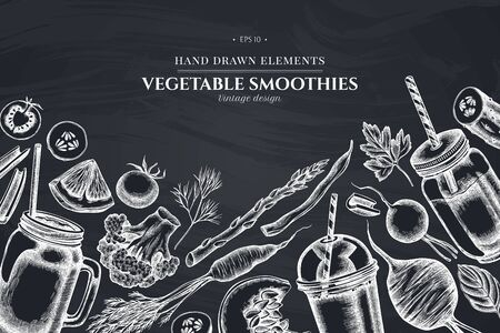 Design with chalk lemons, broccoli, radish, green beans, cherry tomatoes, beet, greenery, carrot, basil, pumpkin, smoothie cup, smothie jars, cucumber, celery 向量圖像