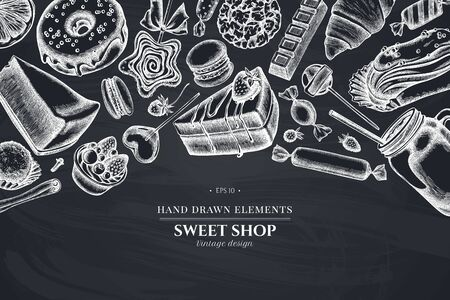 Design with chalk cinnamon, macaron, lollipop, bar, candies, oranges, buns and bread, croissants and bread, strawberry, milk boxes, smoothie cup, lollipop, smothie jars, cheesecake, eclair, cupcake, cake, donut, cookie, truffle, cake, tartlet Vectores