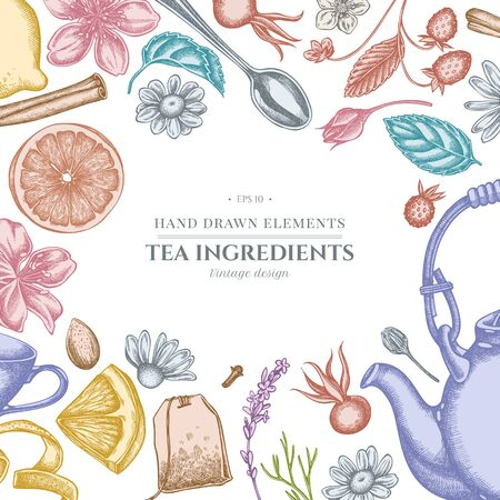 Design with pastel cinnamon, lemons, oranges, tea bag, sugar cubes, heather, chamomile, dog rose, peppermint, almond, strawberry, teaspoon, teapots, cups, sugar bowl