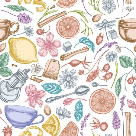 Seamless pattern with hand drawn pastel cinnamon, lemons, oranges, tea bag, sugar cubes, heather, chamomile, dog rose, peppermint, almond, strawberry, teaspoon, teapots, cups, sugar bowl